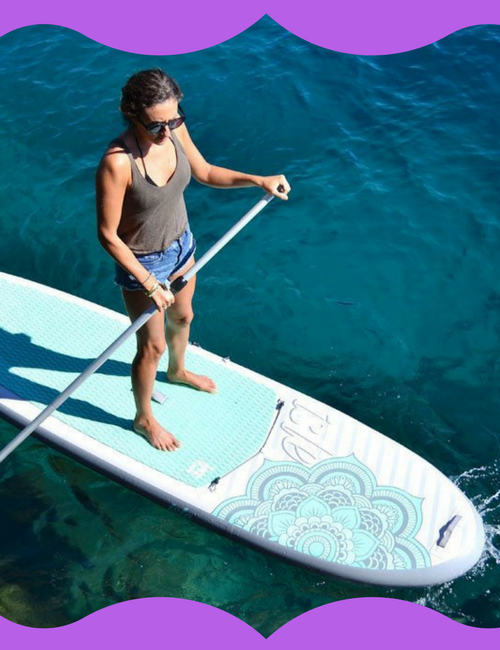 Lady using an inflatable sup
