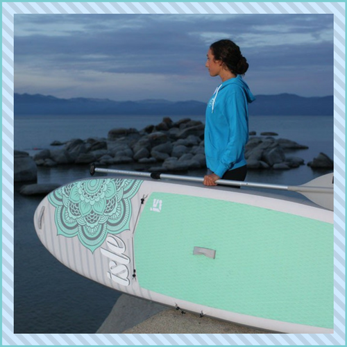 inflatable paddle board with a large deck pad