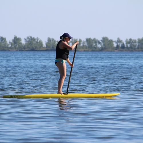 Woman paddle boarding on a lake